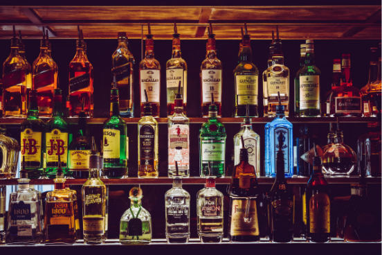 Alcohol On Shelves in a Bar