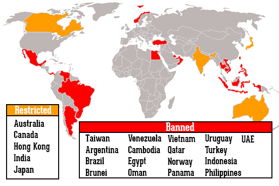 Where is vaping illegal on the world map countries where vaping is banned
