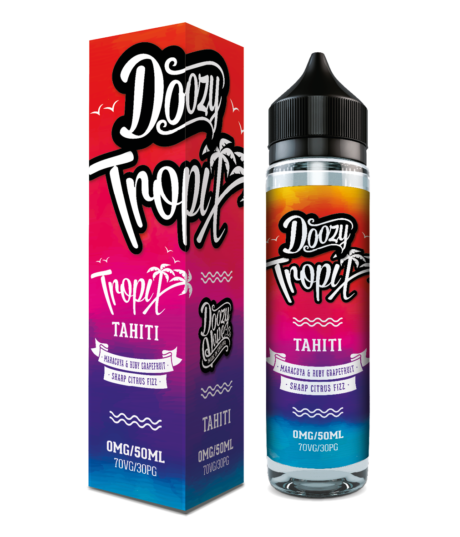 Tropix Tahiti Shortfill e-liquid 50ml 0mg Nicotine Hi VG. A Tangy blend of Maracuya and Ruby Grapefruit with a Refreshingly Sharp Citrus Fizz. A Fruitilicious Mix drenched in Green Lemon juice makes this a Showstopper of a Flavour with a Twist. It really is something Special.